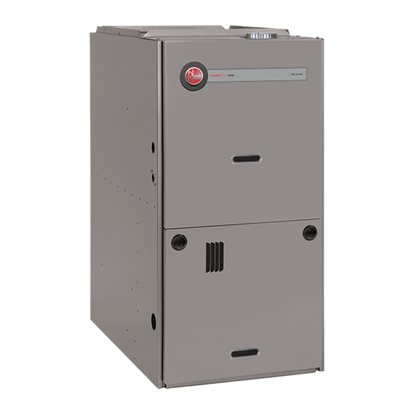 Rheem R801T downflow gas furnace.